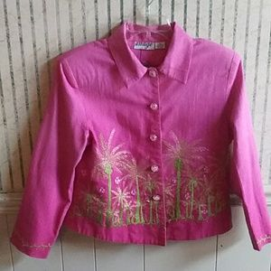 🍀Anage Pink Tropical Embroidered Blazer Size M